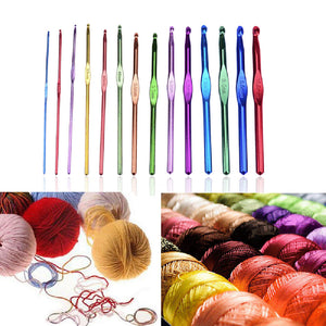 14Pcs Aluminum Handle Knitting Crochet Hook Needles Pin Weave Yarn - sweet-casa.com