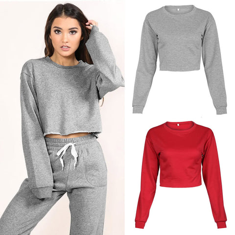 Women Sport Yoga Crop Top Blouse O-Neck Long Sleeves Casual Sportswear Pullover Top T-Shirt - sweet-casa.com