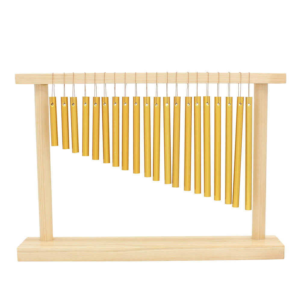 20-Tone Table Top Bar Chimes 20 Bars Single-row Musical Percussion Instrument With Wood Stand Stick - sweet-casa.com