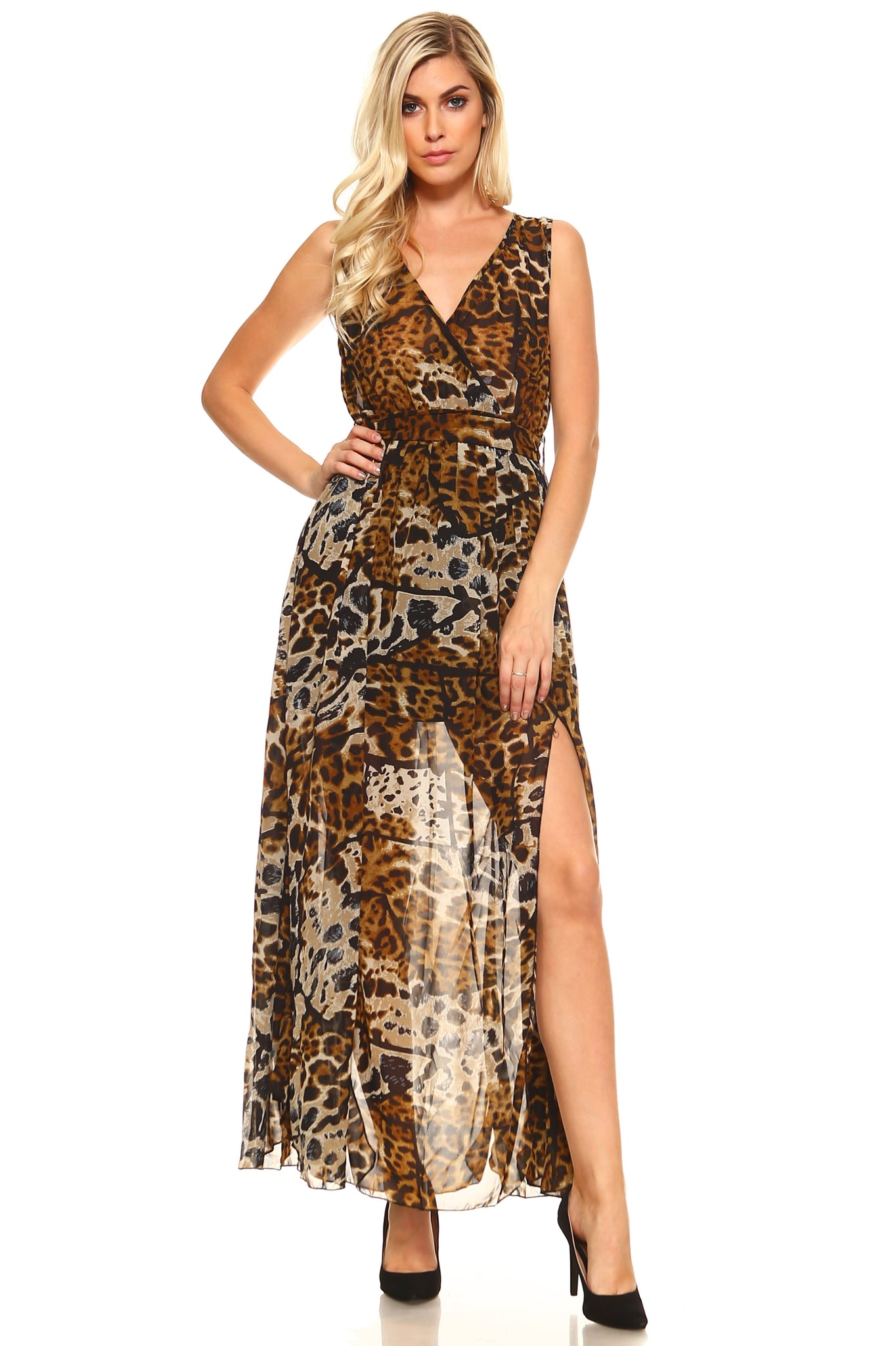 Women's Crossover Animal Print Side Slip Maxi Dress - sweet-casa.com