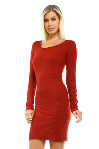 Women's Long Sleeve Textured Sweater Dress - sweet-casa.com
