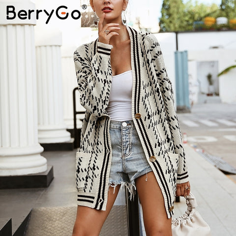 BerryGo V neck plaid tricot knitting cardigan Long sleeve pocket women sweater 2018 Autumn winter casual knitted sweater outwear - sweet-casa.com