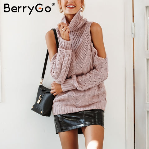BerryGo Turtleneck knitting winter sweater female Cold shoulder long sleeve pullover women 2018 Autumn nude pink casual jumpers - sweet-casa.com
