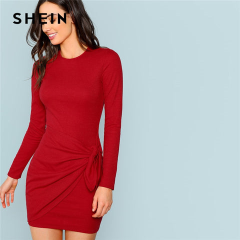 SHEIN Rust Sexy Elegant Office Lady Knotted Wrap Front Fitted Pencil Natural Waist Dress 2018 Autumn Streetwear Women Dresses - sweet-casa.com