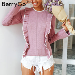BerryGo Side ruffles winter sweater sweet Flare sleeve slim autumn women sweater pullover 2018 O neck casual short female jumper - sweet-casa.com