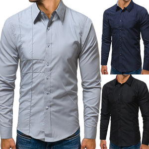 Men's Autumn Casual Formal Slim Fit Solid Long Sleeve Dress Shirt Top Blouse - sweet-casa.com