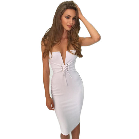 malianna 2018 New Spring Summer Sexy Women Sleeveless Deep V-Neck Bandage Bodycon Dress Lace Up Spaghetti Strap Midi Vestidos - sweet-casa.com