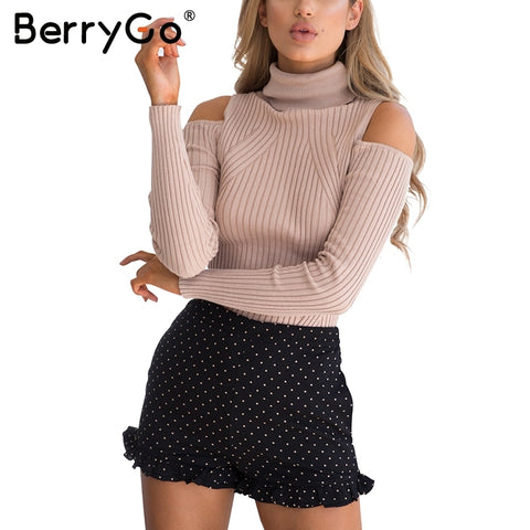BerryGo Turtleneck cold shoulder pink knitted sweater Women casual cotton striped pullover Female elegant autumn winter jumper - sweet-casa.com