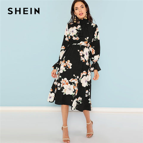 SHEIN Black Print Mock Neck Pleated Panel Floral Dress Elegant Ruffle Streetwear Trip High Waist Women Autumn Dresses - sweet-casa.com