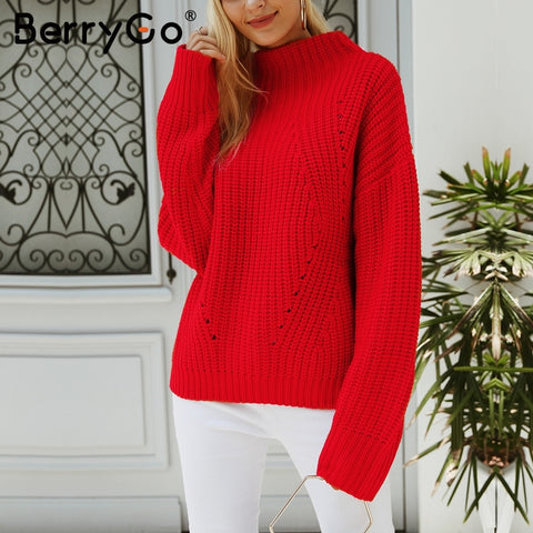 BerryGo Short red knitted winter sweater female Casual warm loose pullover women Streetwear tricot pull femme jumper 2018 - sweet-casa.com
