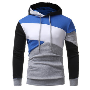 Mens' Long Sleeve Patchwork Hoodie Hooded Sweatshirt Tops Jacket Coat Outwear - sweet-casa.com