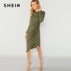 SHEIN Army Green Elegant Casual Draped Asymmetric Natural Waist Long Sleeve Solid Dress 2018 Autumn Party Women Dresses - sweet-casa.com