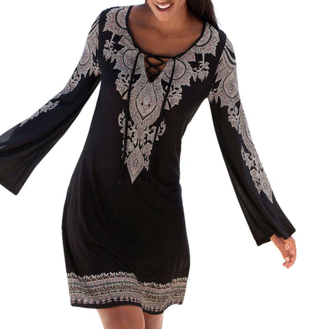 Women Halter Neck Boho Print Long Sleeve Casual Mini Beachwear Dress Sundress - sweet-casa.com