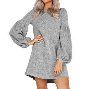 Sexy Women Camisole Long Sleeve O-Neck Loose Pleated Mini Dress Fashion Dress - sweet-casa.com