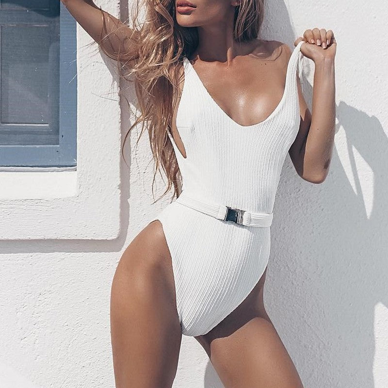 Bikinx White buckle bikini 2019 new monokini High cut sexy female swimsuit one piece suits Push up swimwear women bathing suit - sweet-casa.com