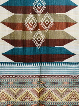 Woven Teal and Rust Tribal Print Long Scarf