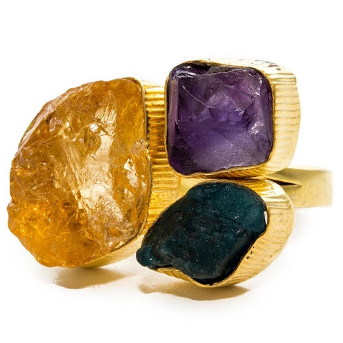 Triple Gemstone Ring with Purple Amethyst, Apatite, Citrine Ring