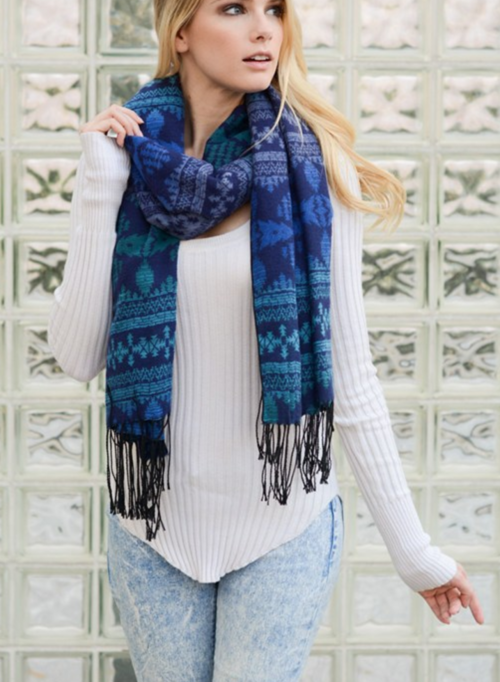 Teal and Blue Boho Tribal Scarf