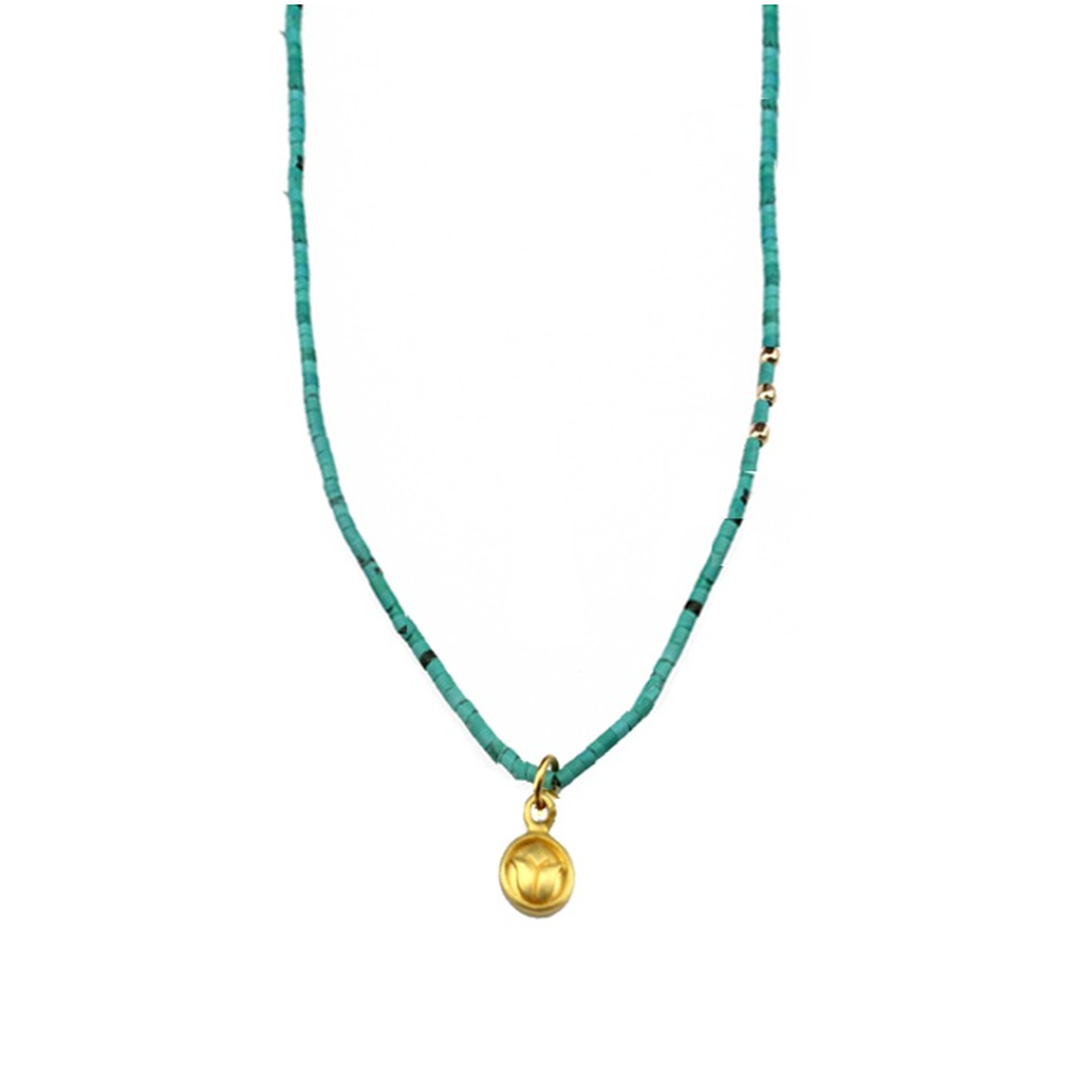 Turquoise Small Lotus Talisman Necklace