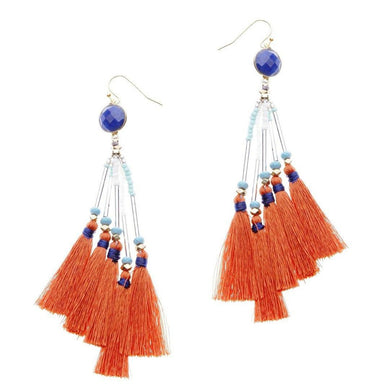 Citrusfig Lapis Tassel Earrings