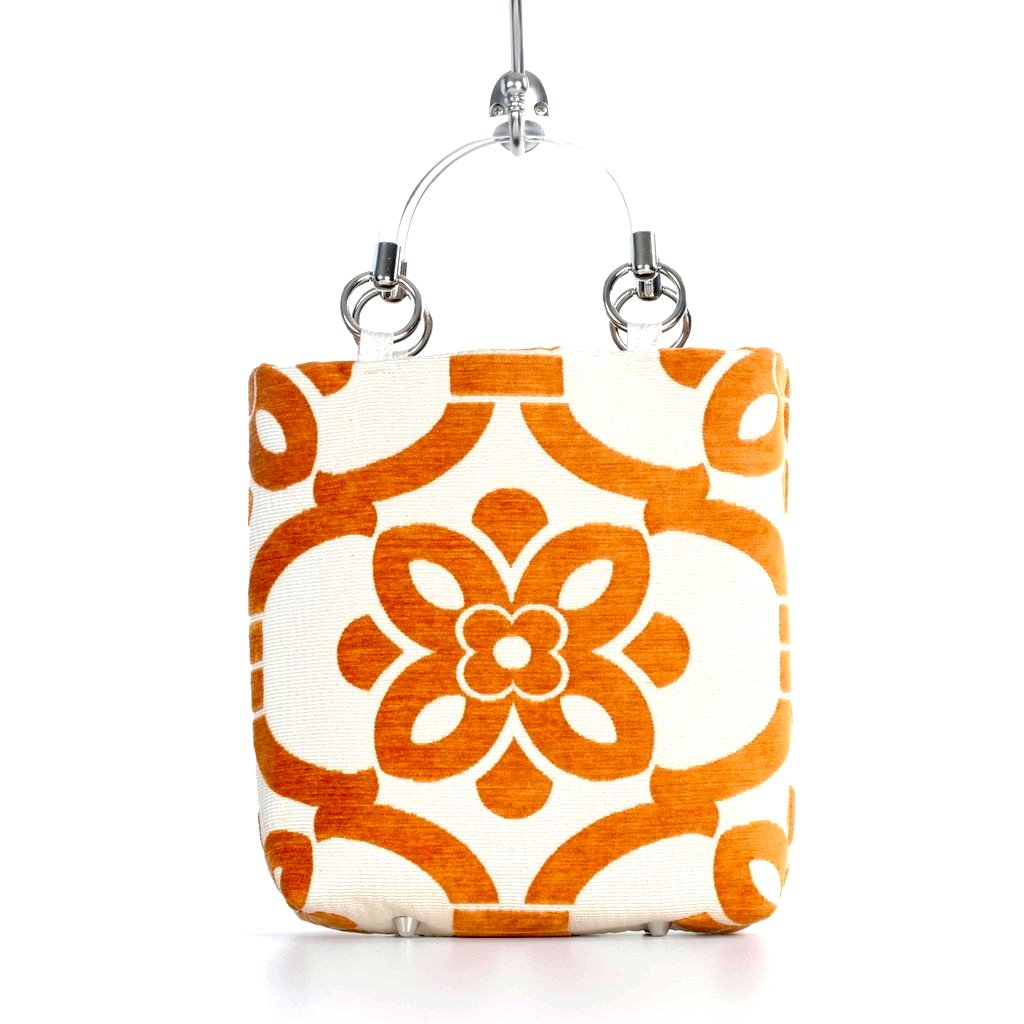 Velvet Stencil Small Tote Bag - Orange