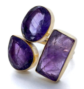 Ultraviolet Faceted Amethyst Triple Ring with Gold Overlay