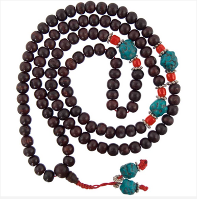 Prayer Mala With Rosewood, Coral & Turquoise