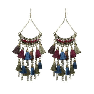 Multi-Color Tribal Tassel Earrings