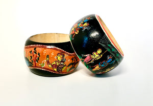 Wooden Folklore bangle with Hand painted Indian folk art