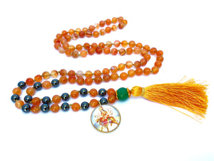108 Beads Carnelian Mala with Durga Pendant