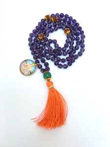108 Beads Purple Amethyst Mala with Lakshmi Pendant