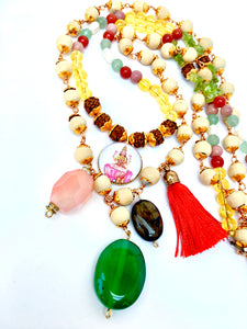 Multi Gemstone Layered Lakshmi Necklace with Rudraksha