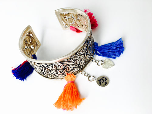 Tribal Silver Cuff Bracelet with charms and tassels