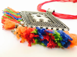 Tribal Silver Necklace with Colorful Cotton Tassels
