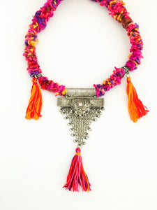 Trendy Tribal Silver Necklace