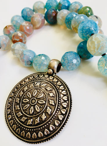 Tribal Silver Pendant, Rajasthani Pendant with Dreamy Aqua Blue Agate Beads