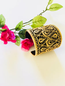 Handmade Gold Filigree Cuff Bracelet, rustic suede leather