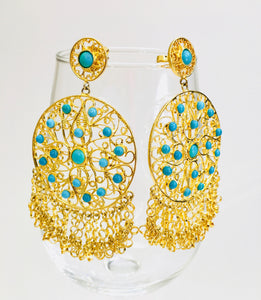 Bollywood Statement Earrings- Ethnic Circle Earrings - Turquoise