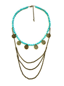 Tribal Coin Necklace, Vintage Brass and Turquoise Coin Necklace with Chains
