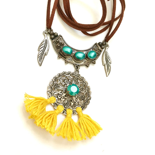 Tribal Silver Tassel Necklace, Bohemian Necklace with Silver Disc and charms