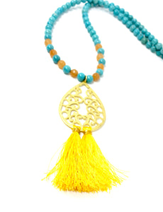 Gold Teardrop Tassel Necklace