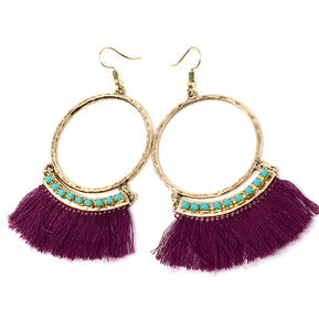 Large Hoop Earrings with Fringes And Rhinestones-Purple