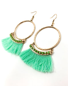 Hoop Earrings with Fringes And Rhinestones-Sea Green