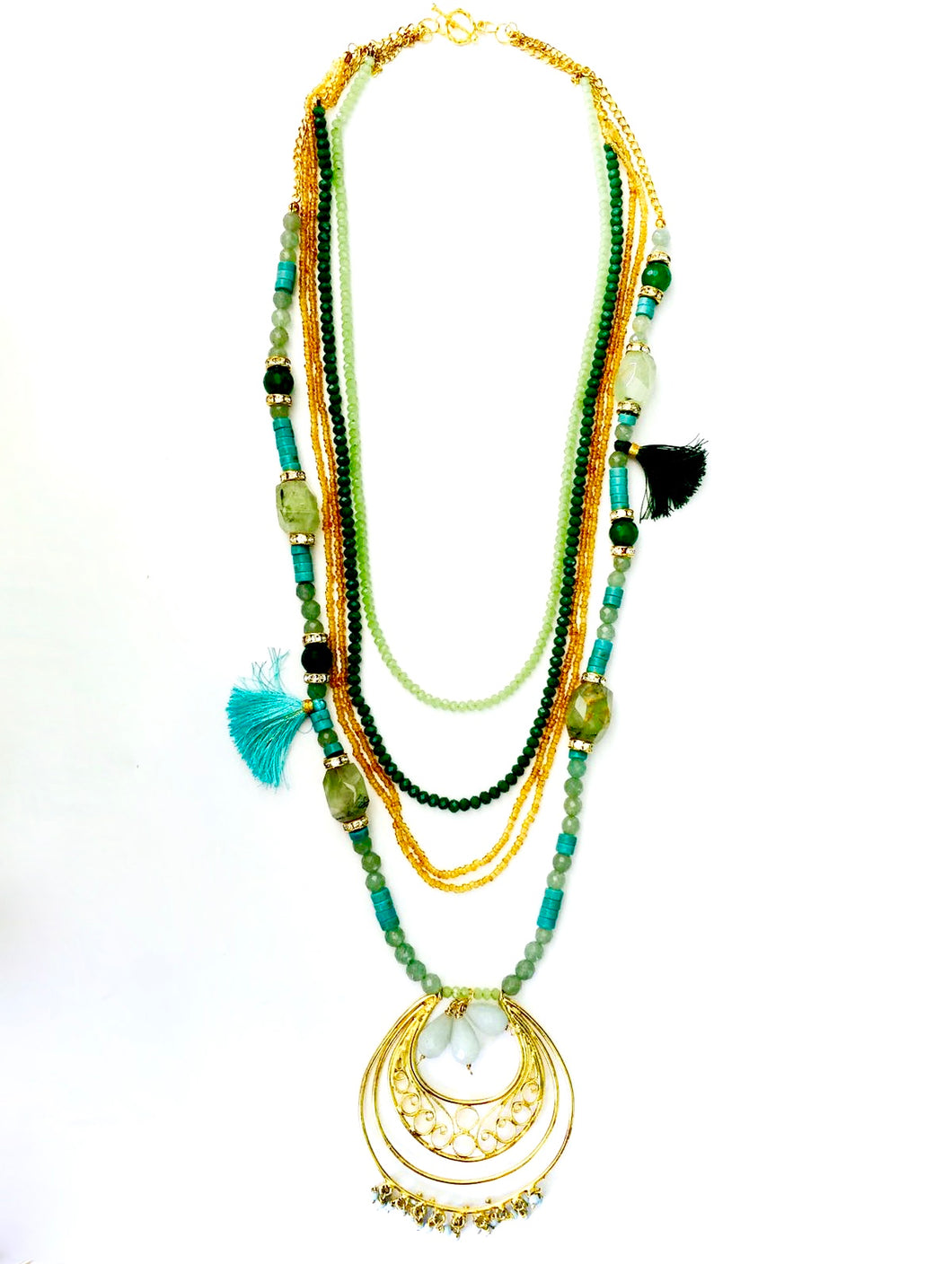 Multi Strand Filigree Gold Chain Necklace in Turquoise and Emerald