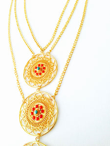 Gold Filigree Triple Pendant Statement Necklace with Corals and Turquoise