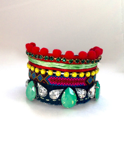 Bohemian Denim Fitted Cuff Bracelet with rhinestones and Swarovski Crystals