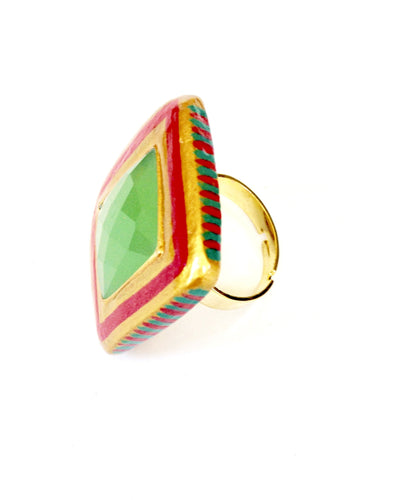 Large Green Gemstone Ring by Ethnocity
