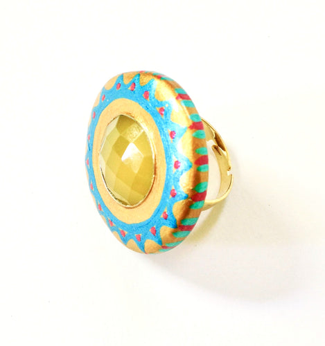 Large Yellow Gemstone Ring by Ethnocity.