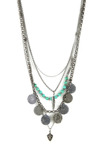 Layered Tribal Coin Necklace With Turquoise Beads