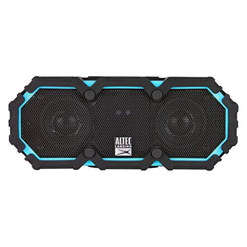 Altec Lansing iMW477 Mini Life Jacket Bluetooth Speaker Waterproof Wireless Bluetooth Speaker, Hands-Free Extended Battery Outdoor Speaker, Ultra-Portable 10ft Range, Blue/Black